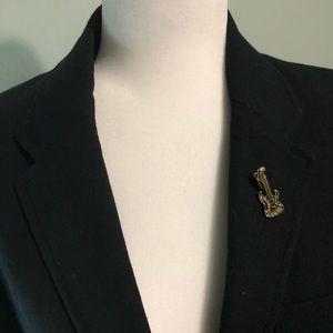Crystal goldtone guitar brooch